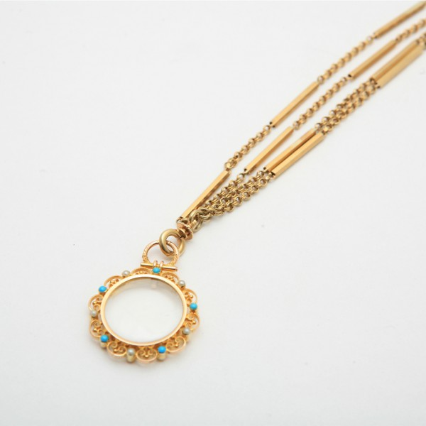 Antique-18k-Yellow-Gold-60-Guard-Chain-with-Bar-Detail-Antique-15k-Yellow-Gold-Hair-Locket-set-with-Turquoise-Seed-Pearls.jpg