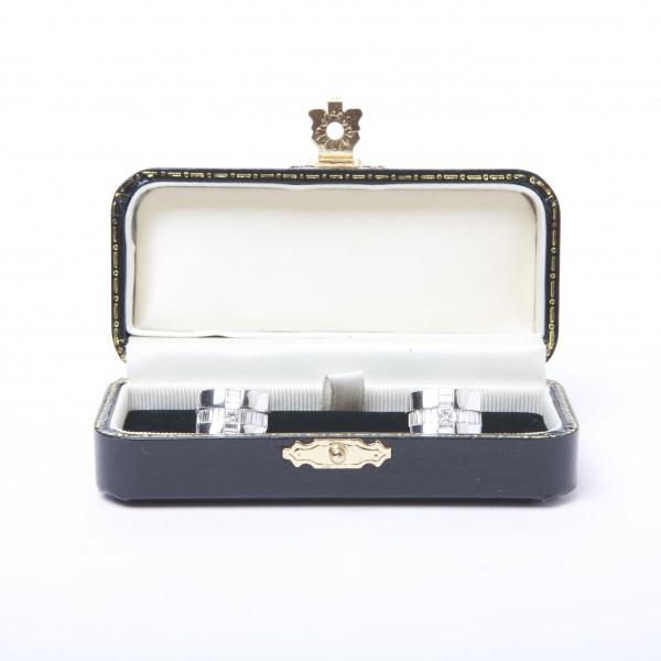 18k White Gold Cufflinks set with Princess-Cut & Baguette-Cut Diamonds