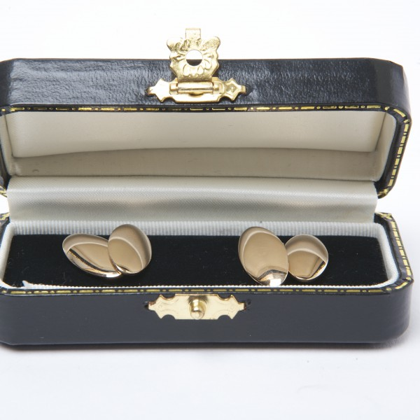 Antique 9k Rose Gold Cufflinks with Chain Fitting
