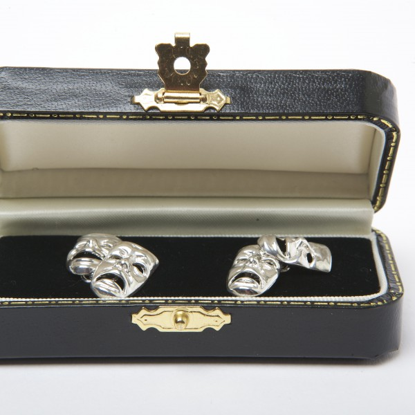 Silver Comedy & Tragedy Cufflinks with Chain Fitting