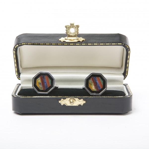 Silver & Dyed-Agate Cufflinks